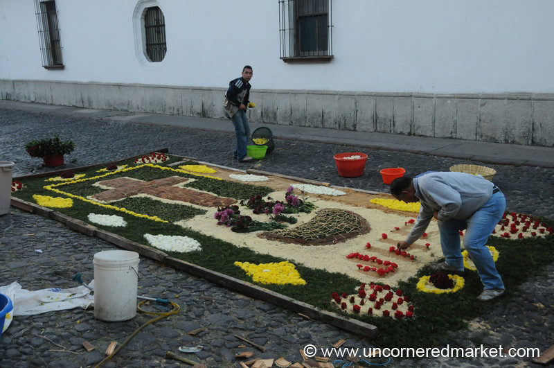Semana Santa, Men Working on Alfombra - Antigua, Guatemala