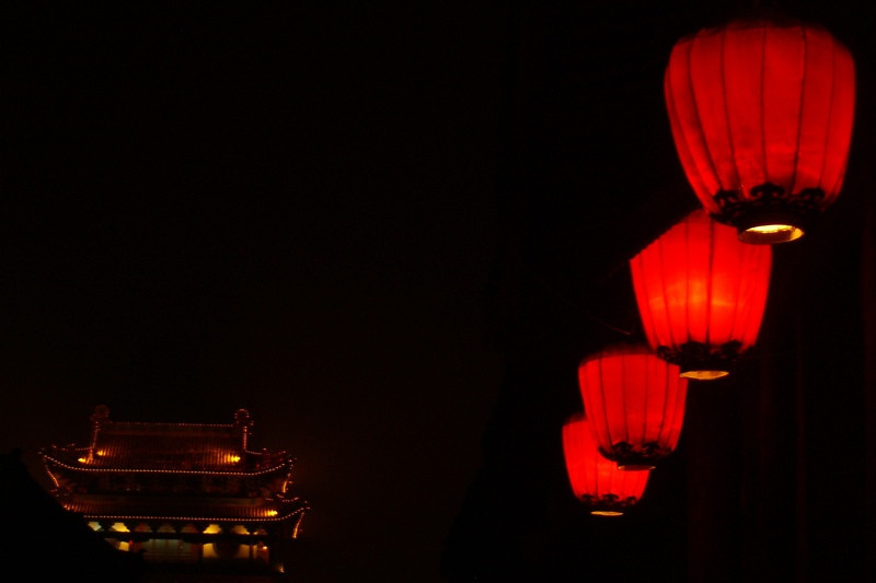 Red Lanterns at Night - Pingyao, China