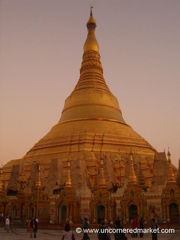 Shwedagon Paya at Dusk - Rangoon, Burma (Yangon, Myanmar)