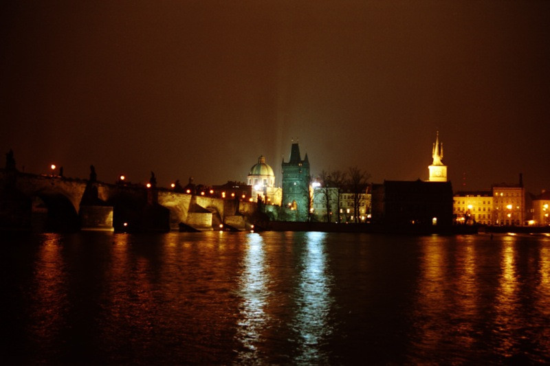 Vltava River at Night - Prague, Czech Republic