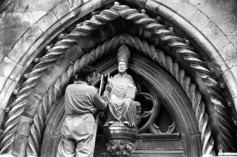 Repairing Statue with Hand - Korcula, Croatia