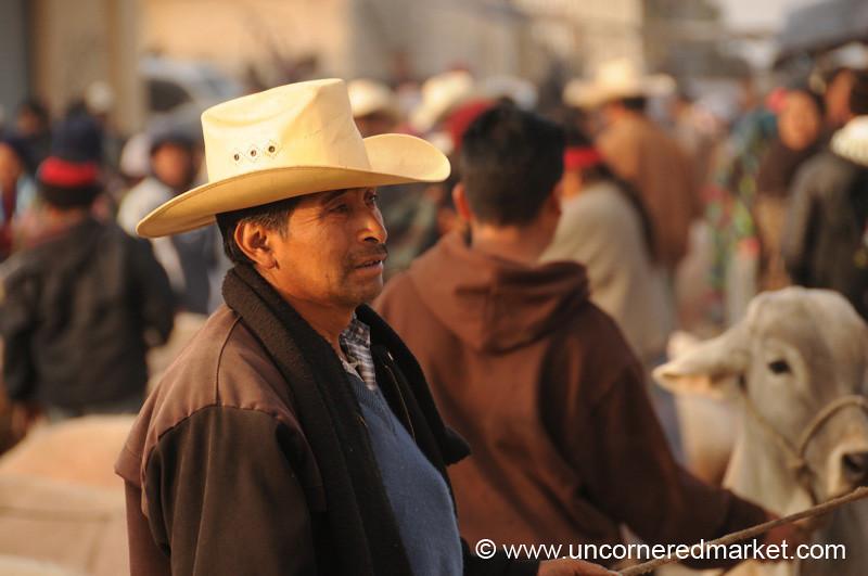 San Francisco El Alto Animal Market, Man with Hat - Guatemala