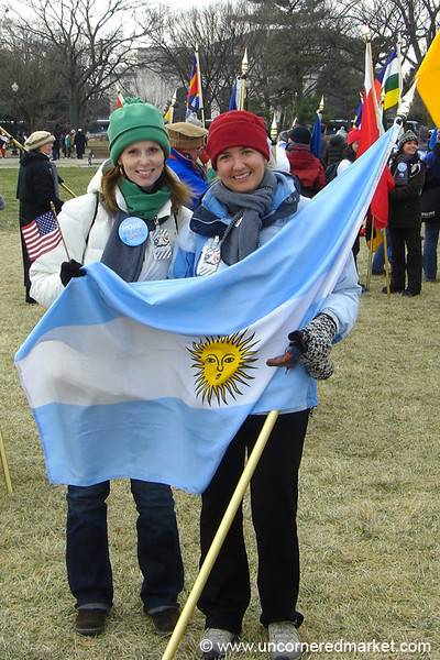 Women Holding Argentinian Flag - Washington DC, USA