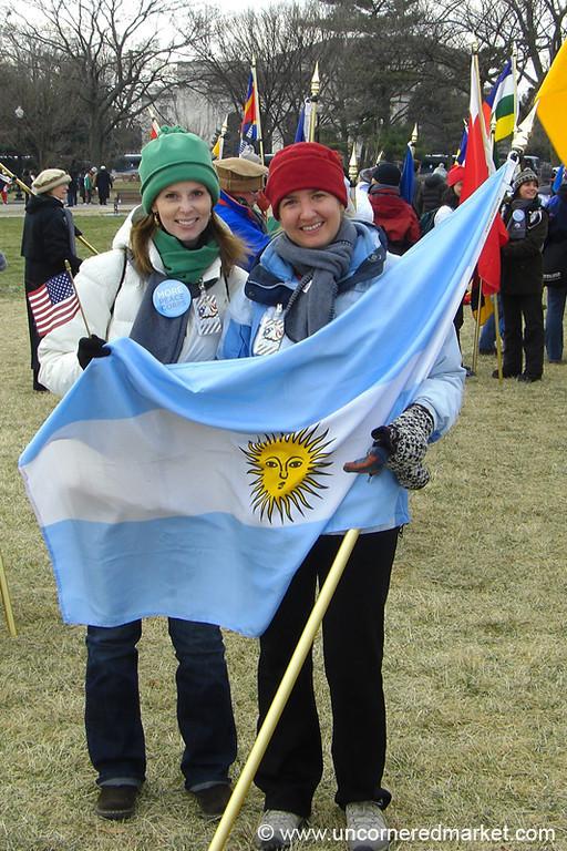 Women Holding Argentinian Flag - Washington DC, USA
