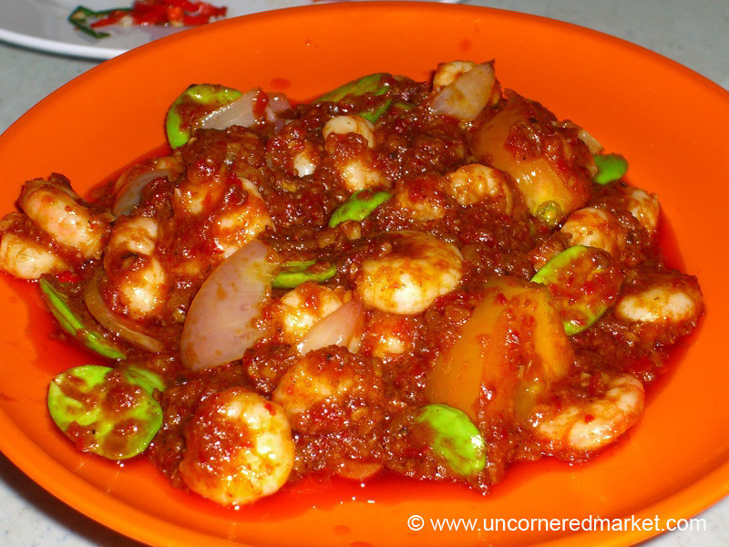 Malaysian Food, Shrimp, Sambal and Fava Beans - Melaka, Malaysia