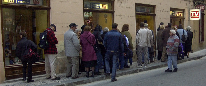 Customers Waiting in Line - Prague, Czech Republic