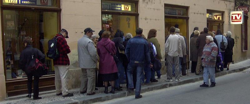 Customers Waiting in Line - Prague, Czech Republic