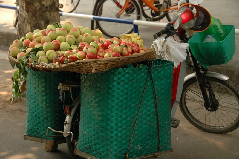 Apples Sold on Bicycle - Chengdu, China