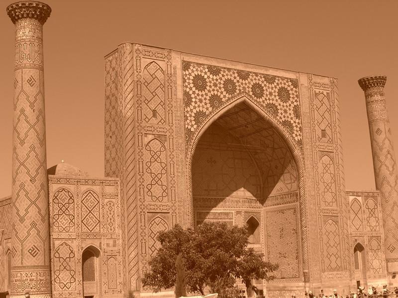 The Registan in Sepia - Samarkand, Uzbekistan