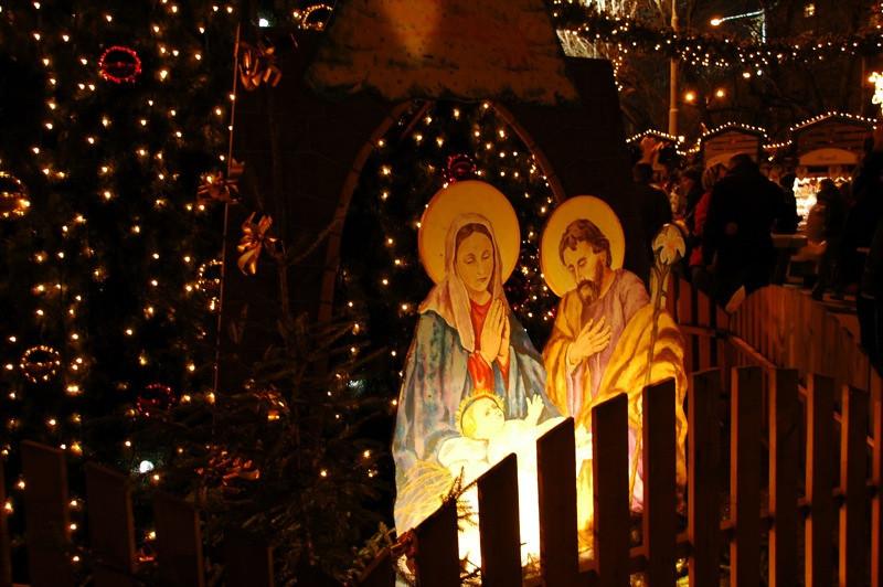 Nativity Scene at Namesti Miru Christmas Market - Prague, Czech Republic