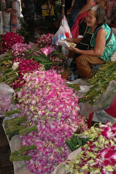 Lady at the Flower Market - Bangkok, Thailand