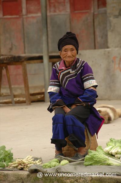 Old Hani Woman Vendor - Yuanyang, China