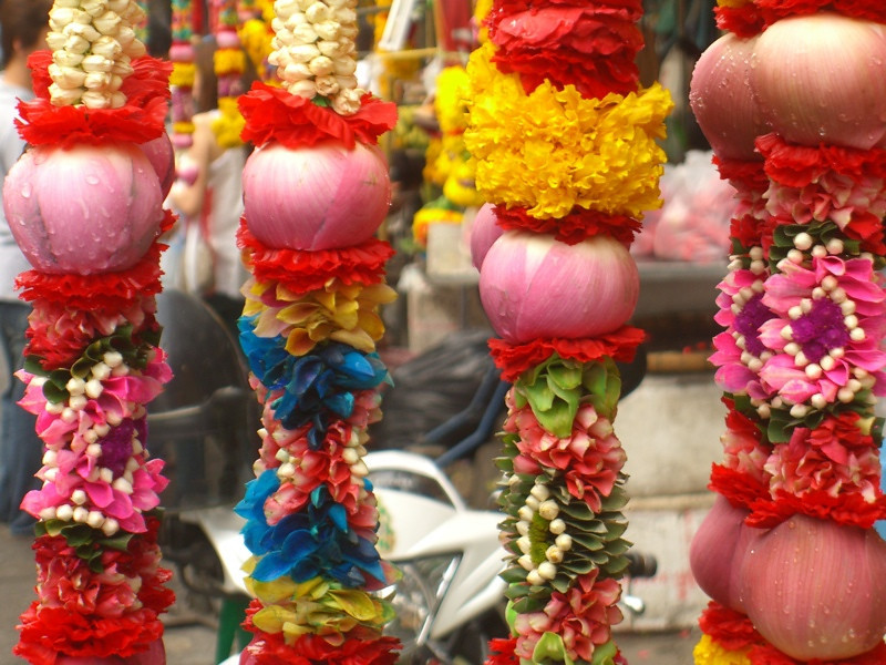 Colorful Flowers at Hindu Temple - Bangkok, Thailand