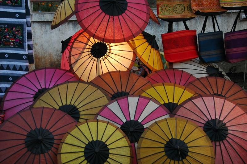 Crafts, Paper Umbrellas at Night Market - Luang Prabang, Laos