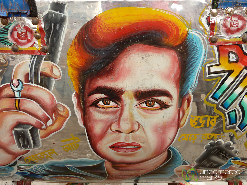 Close Up with Bollywood Rickshaw Art - Rajshahi, Bangladesh