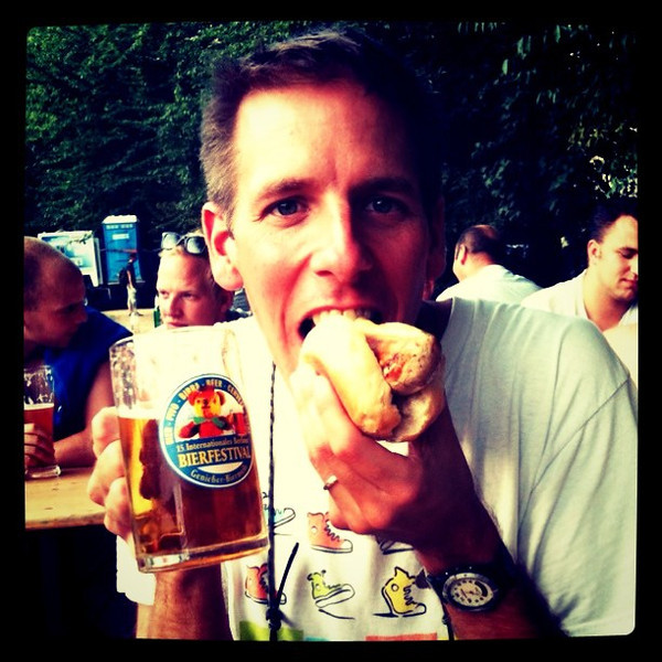 Bratwurst and beer at #berlin beer festival.