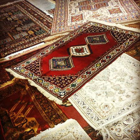 Persian carpet gallery in Shiraz, #Iran. One of those times we wish we had trust fund. Works of art. #dna2iran