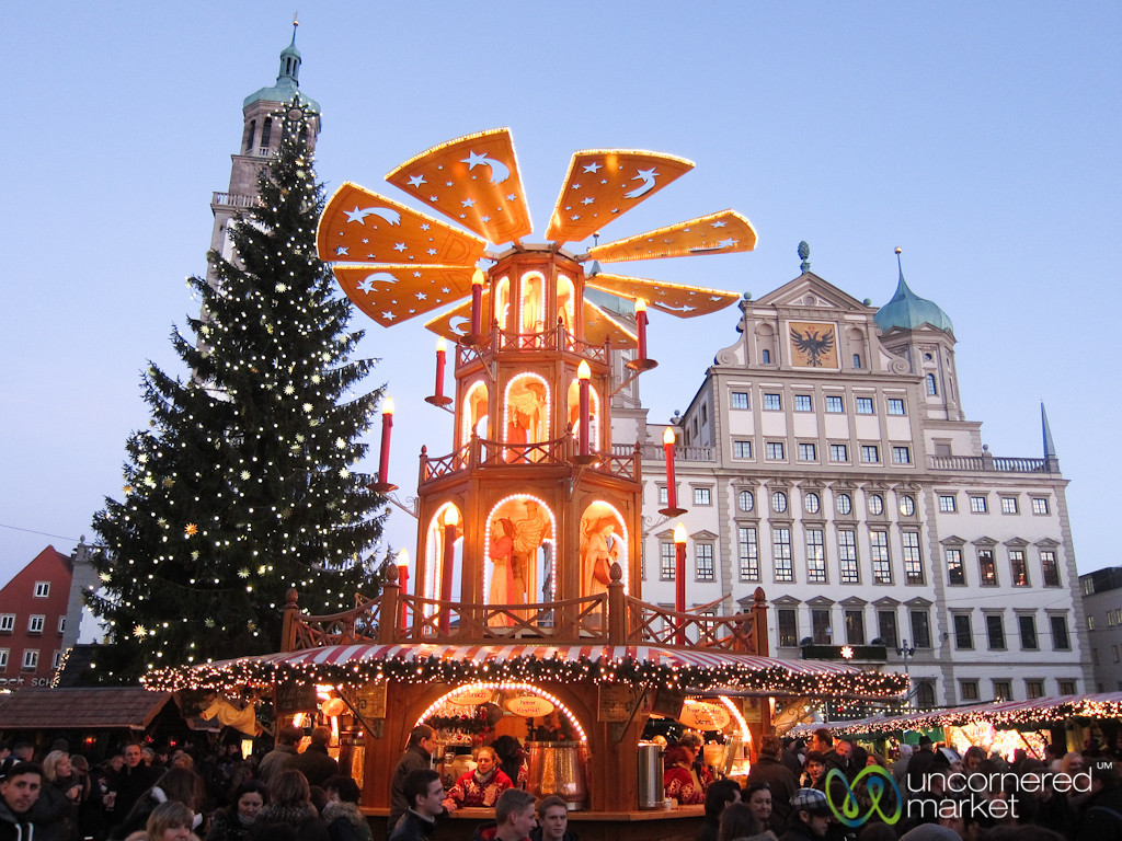 Augsburg Christmas Market and Christmas Pyramid - Bavaria, Germany