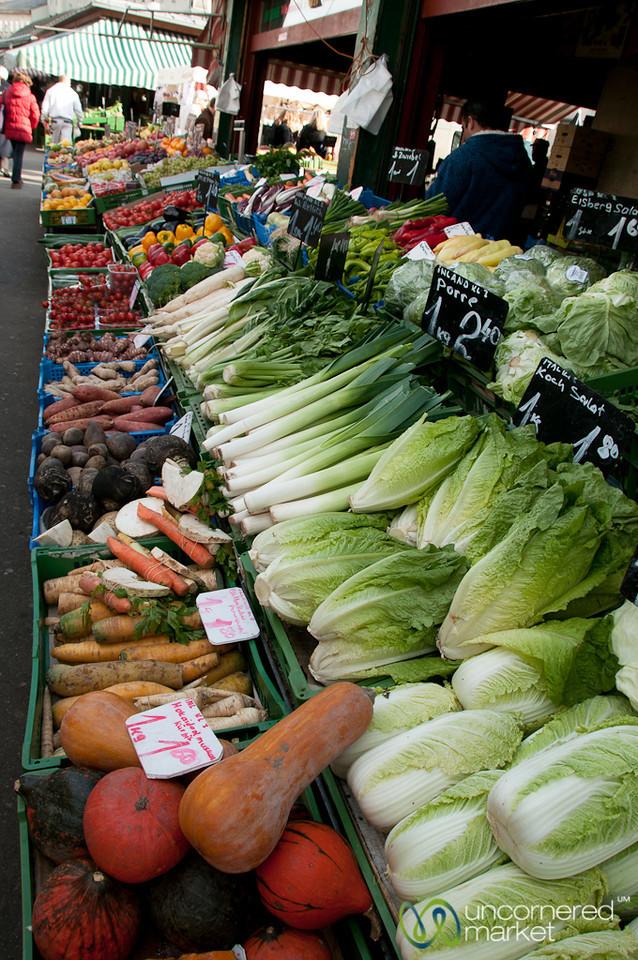 Rows of Vegetables at the Naschmarkt in Vienna, Austria
