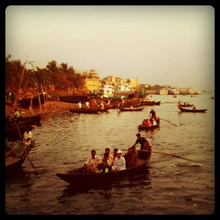 Row boats at dusk - Dhaka, Bangladesh
