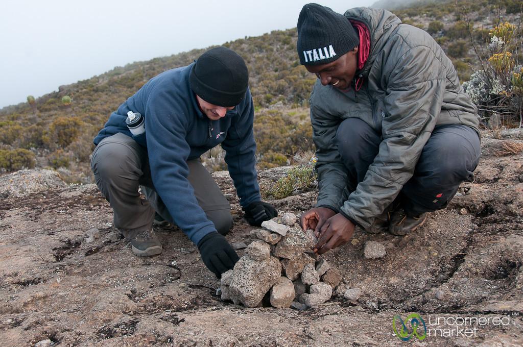 Piling Rocks for Good Luck - Mt. Kilimanjaro, Tanzania