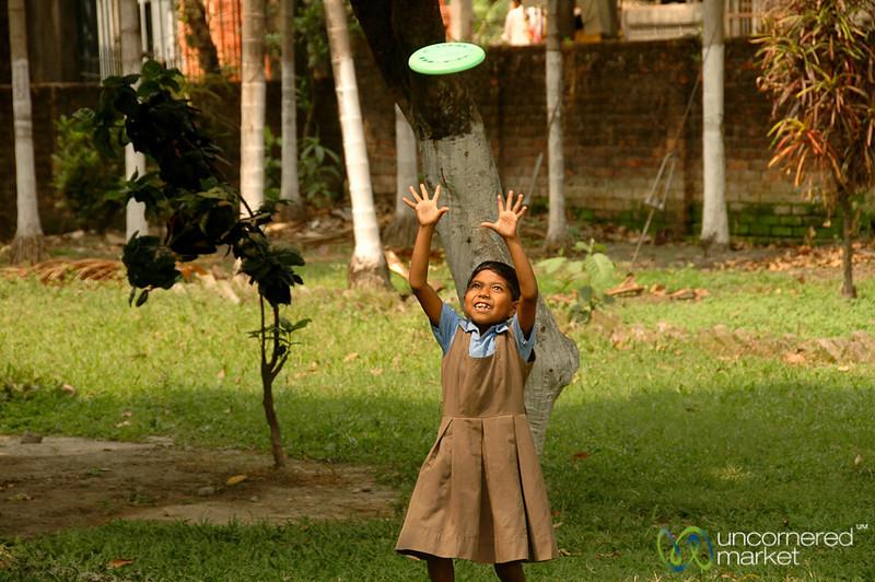 Playing Frisbee After School - Siliguri, India