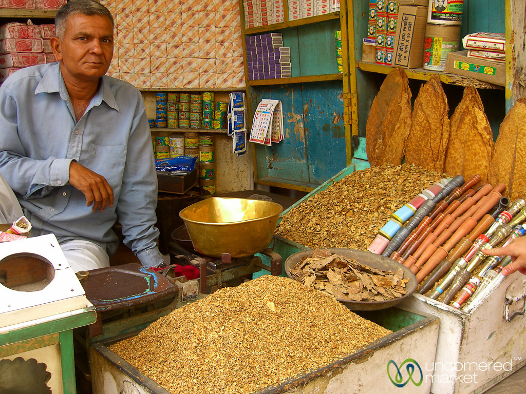 Tobacco Vendor at the Market in Udaipur, India