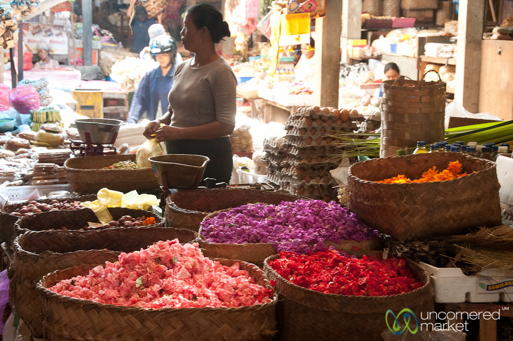 Baskets of Flower Petals at Market - Bali, Indonesia