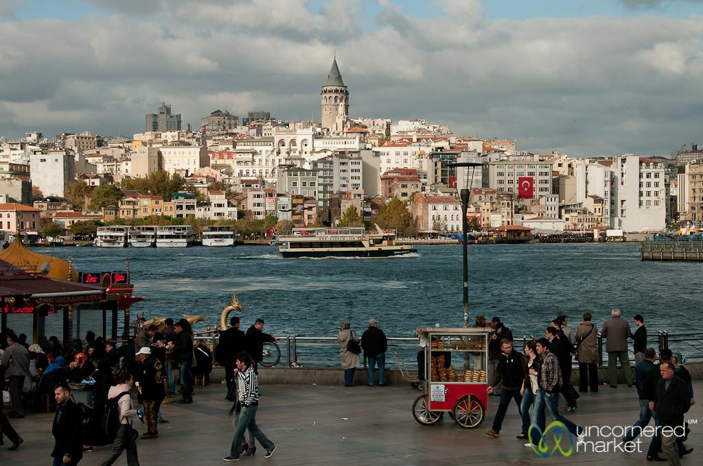 Looking Across River towards Galata Tower- Istanbul, Turkey