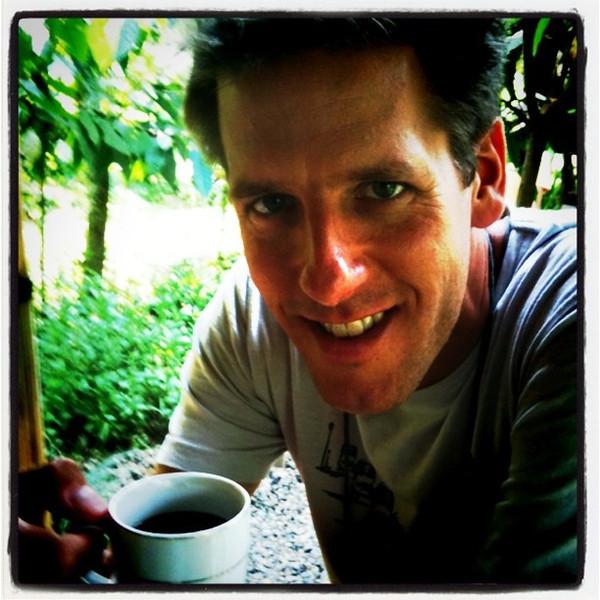 Dan drinks his morning cup of civet/luwak coffee (aka, poo coffee) - Bali, Indonesia