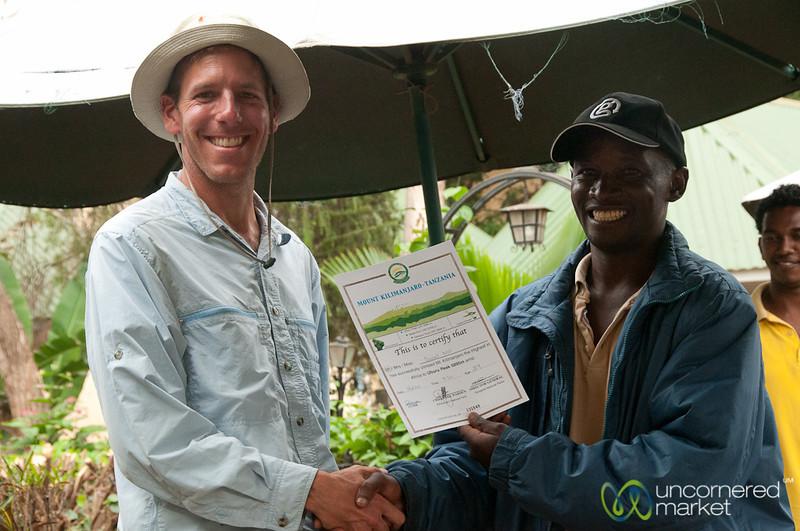 Dan Gets Certificate for Reaching Uhuru Peak - Mt. Kilimanjaro, Tanzania