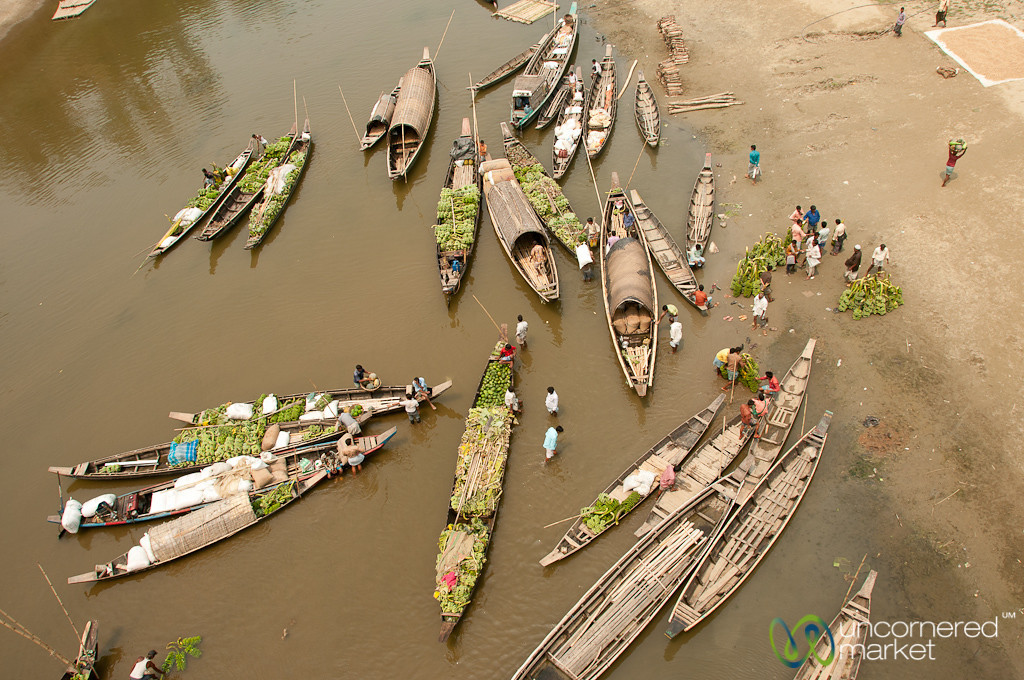 Boats Lined Up for Market Day - Bandarban, Bangladesh