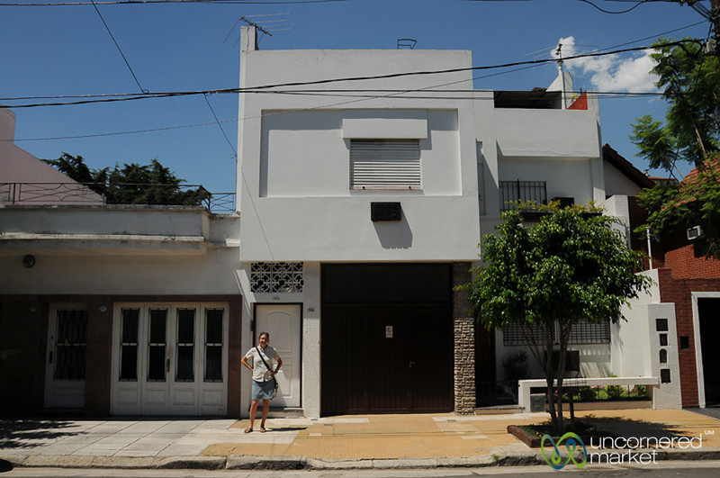 Audrey in Front of the Family House in Villa del Parque, Buenos Aires