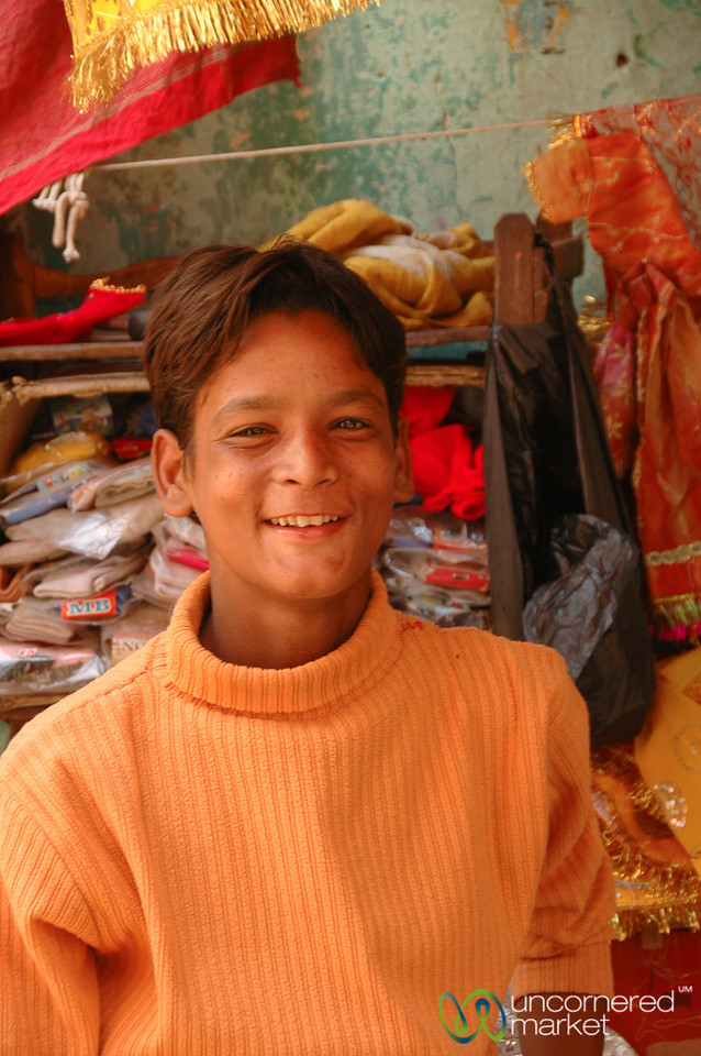 Young Boy at a Market Stall in Bikaner, India