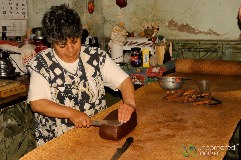 Cutting Slices of Chocolate - Xela (Quetzaltenango), Guatemala