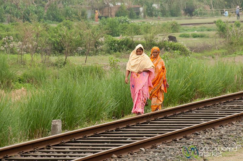 Bangladeshi Women Walking on Railroad Tracks - Khulna to Rajshahi, Bangladesh