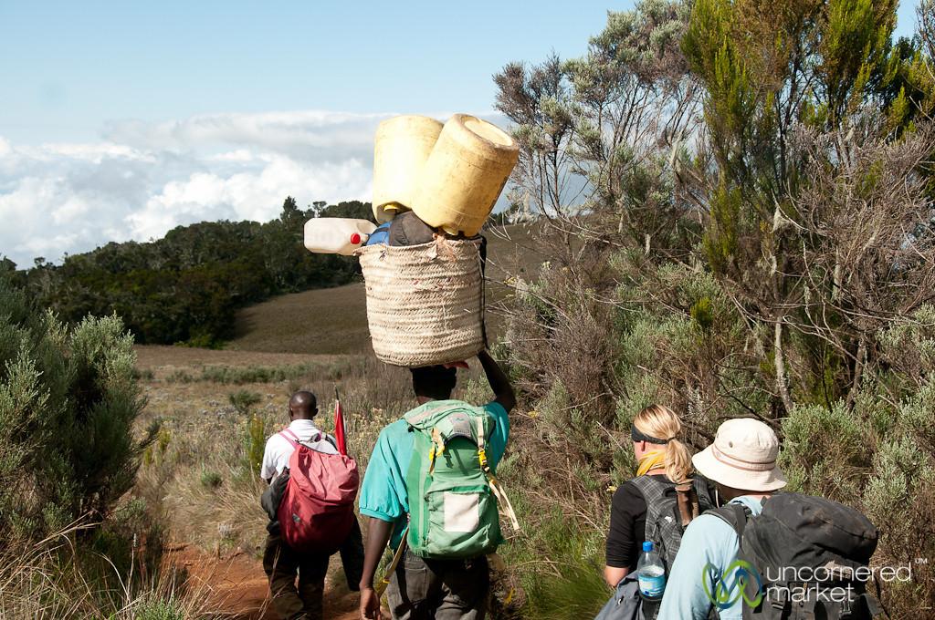 Porters with Great Balance - Mt. Kilimanjaro, Tanzania