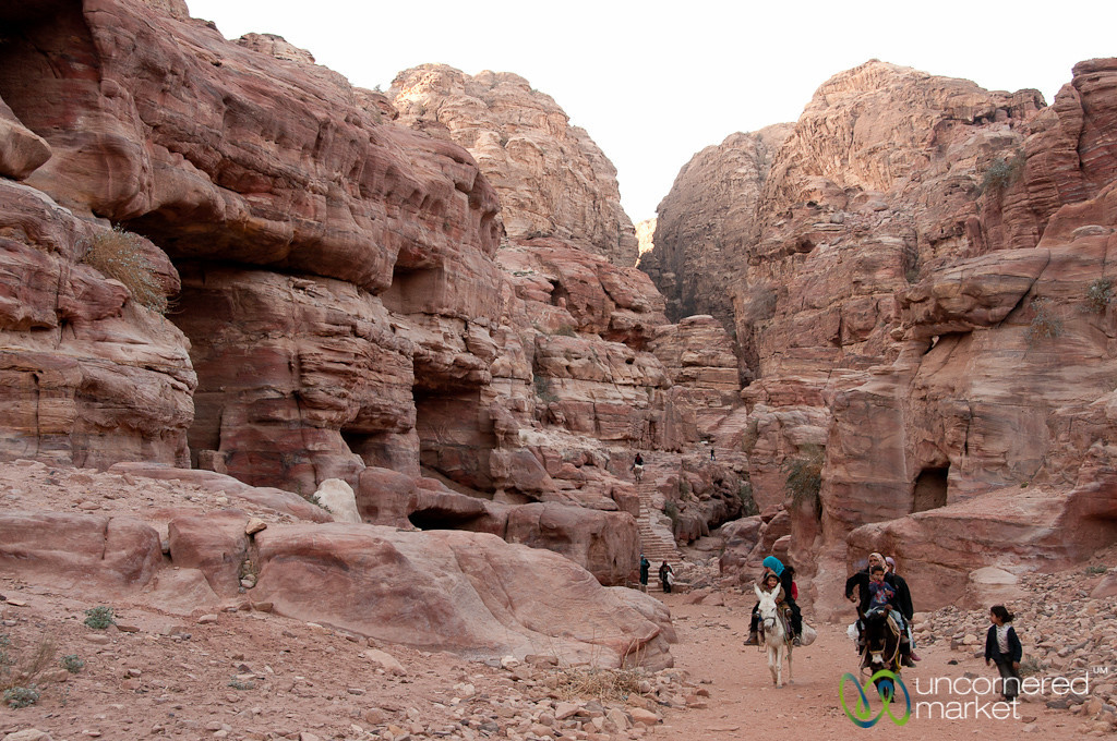 Families Returning Home at End of the Day from the Monastery - Petra, Jordan
