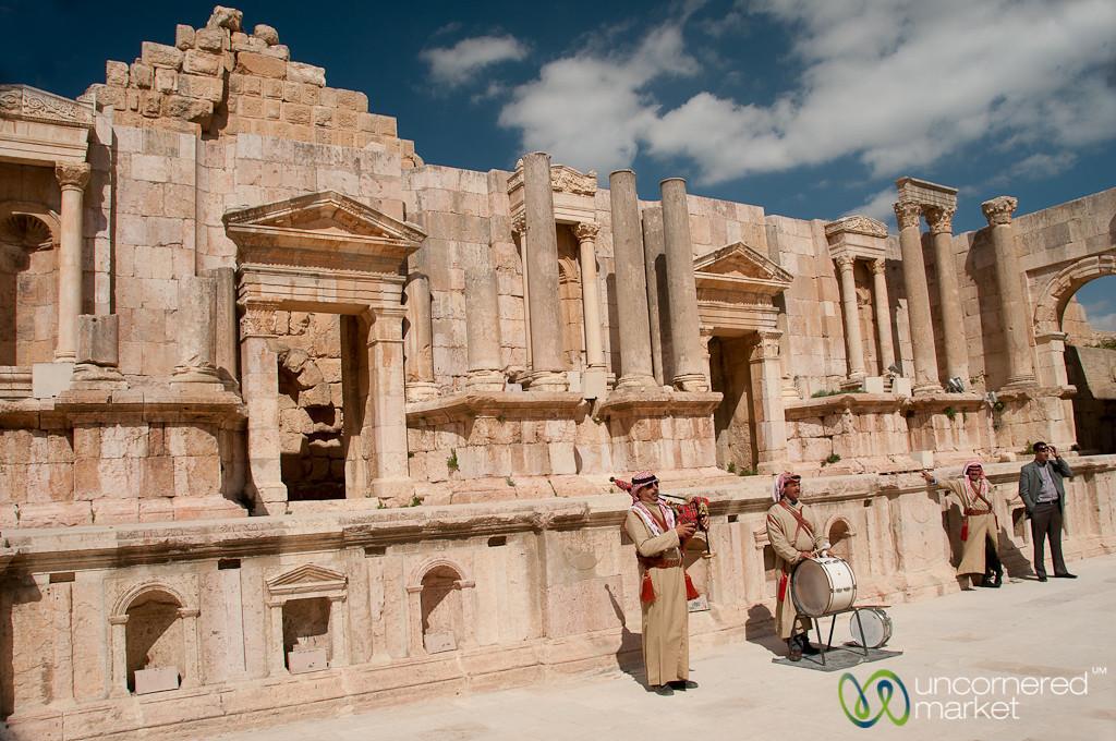 Musicians Play at the South Theatre of Jerash, Jordan