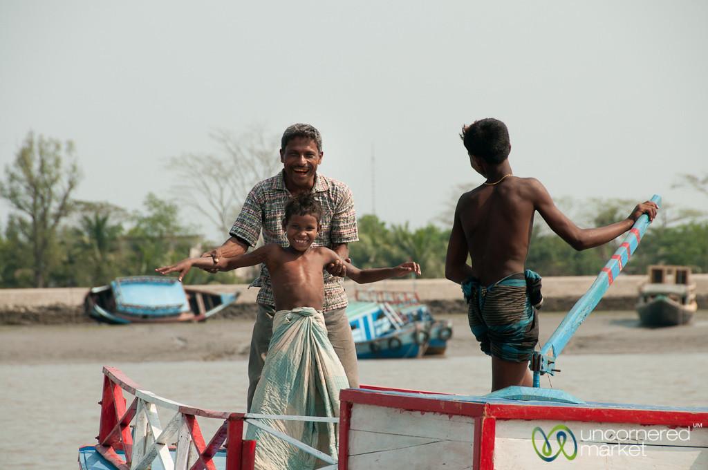 Father and Son on Boat - Sundarbans, Bangladesh