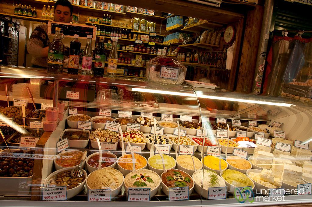 Impressive Display Case of Spreads and Snacks - Naschmarkt in Vienna, Austria
