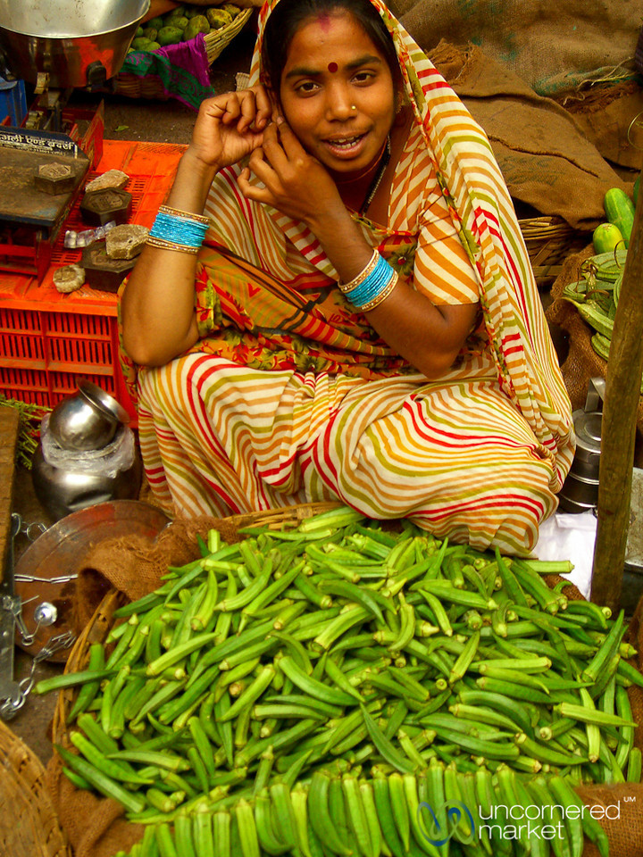 Finger Okra at the Market in Udaipur, India