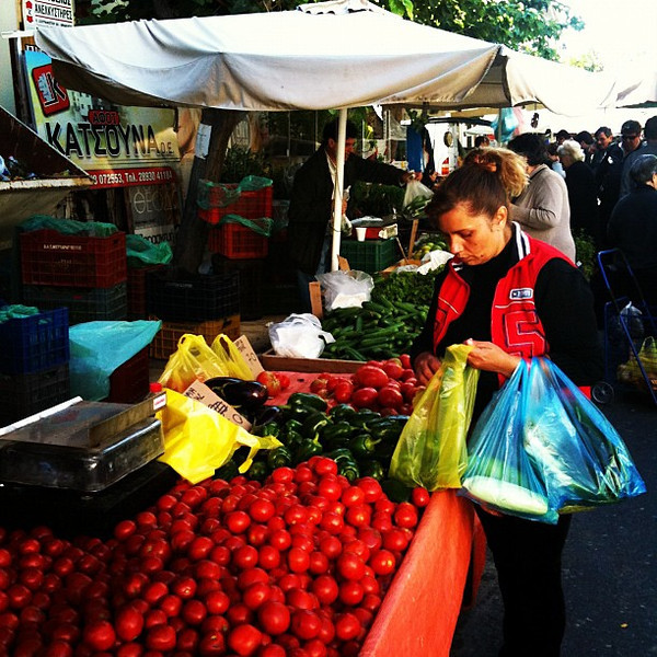 Market day on outskirts of Heraklion. No wonder Crete food so good with produce like this.