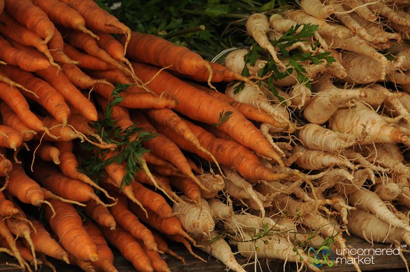 Carrots & Parsnips at the Klanovice Market in Prague, Czech Republic
