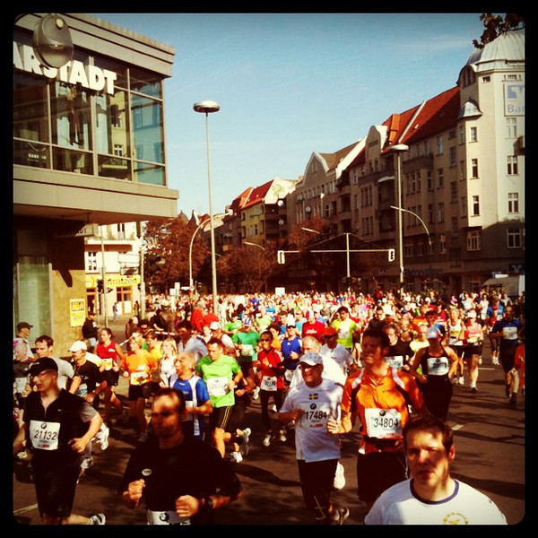 Sea of runners for as long as eye can see. #Berlin marathon