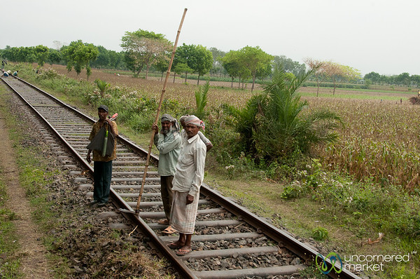 Men Crossing the Railway Tracks - Rural Bangladesh