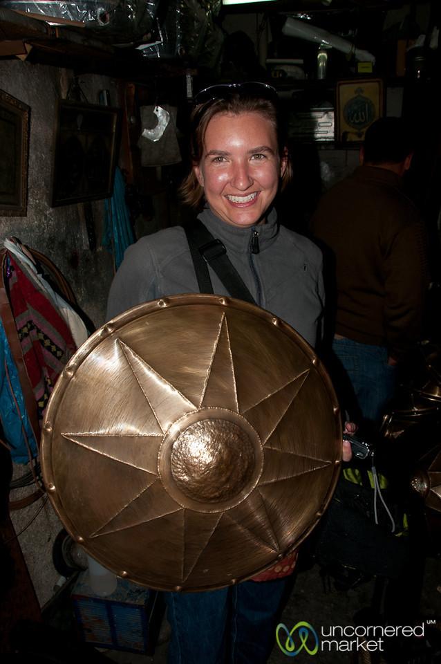 Audrey with her Roman Shield - Amman, Jordan