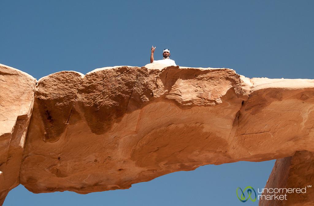 Peace Sign on the Rock Bridge - Wadi Rum, Jordan