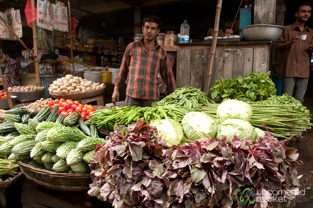 Greens and Vegetables for Sale - Srimongal Market, Bangladesh