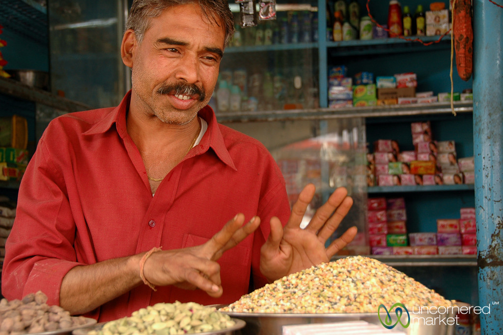 Spice Vendor in Udaipur's Market - Rajasthan, India